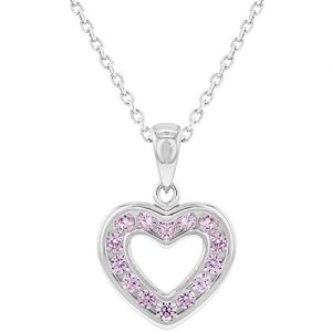 925 Sterling Silver Pink CZ Small Open Heart Pendant Necklace for Girls 16″