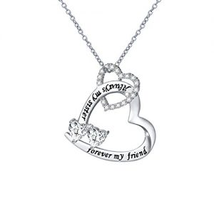 DAOCHONG Sterling Silver Sisters Necklace Always My Sister Forever My Friend Pendant Necklace Gift for Sister