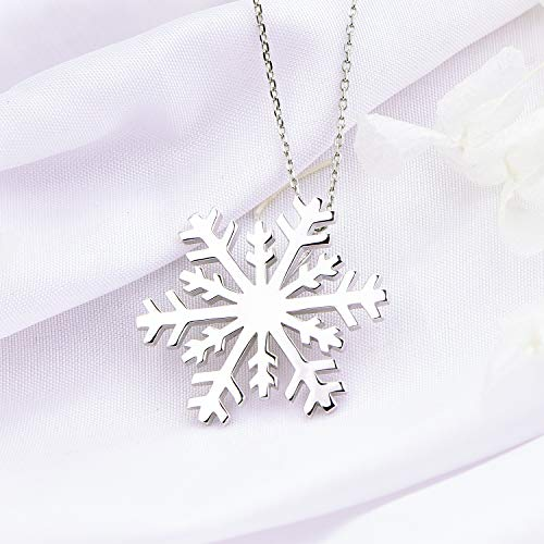 Silver Snowflake Charm Necklace Christmas Gifts for Teachers -Tiny Snowflake Pendant Necklace Dainty Winter Necklace Snowflake Necklace