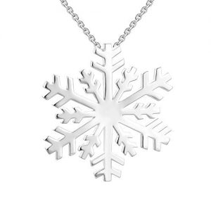 JO WISDOM 925 Sterling Silver Large Winter Frozen Snowflake Pendant Necklace,18-20""