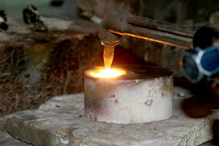 Jeweler Melting silver