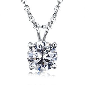 Kaletine Cubic Zirconia Solitaire Pendant Necklace Diamond Cut Clear CZ Silver 925 Cable Chain 16″+2″ Extender