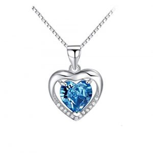 Lam Sence Sterling Silver 8mm Heart Shape Crystal Cubic Zirconia Pendant Necklace