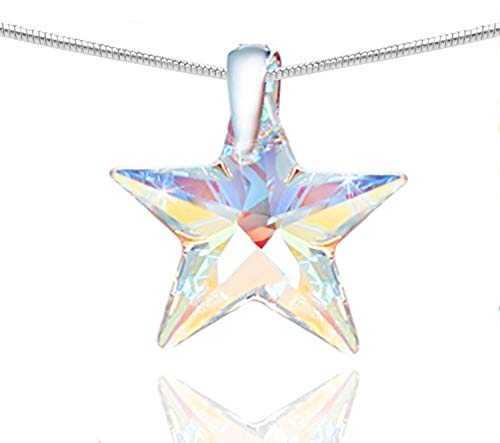 698b0fe00 Royal Crystals Sterling Silver 925 Star Earrings and Star Pendant Necklace  made with Blue Aurora Borealis Swarovski ...