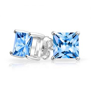 Square CZ Princess Cut Simulated Blue Topaz December Birthstone Stud earrings 925 Sterling Silver 7mm