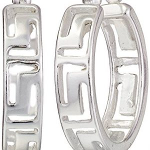 Sterling Silver Greek Key Cut-Out Hoop Earrings