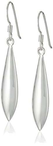 Sterling Silver Polished Elongated-Oval Drop Earrings