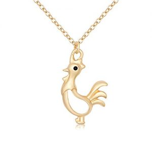 TUSHUO Unique Hollow Chicken Pendant Necklace Funny Design Best Gift for Girls and Women