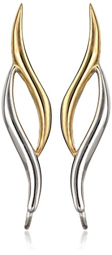 The Ear Pin Sterling Silver Two-Tone Classic Curves Polished Bright Earrings