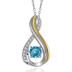 Vibrille Two-Tone Sterling Silver Created Gemstone Blue Topaz Infinity Pendant Necklace, 18 Inch