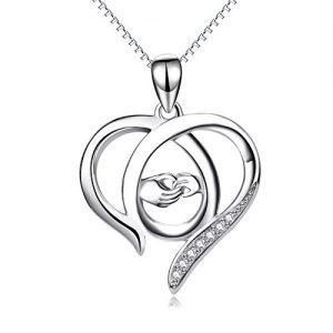 YFN Mother and Child Hands Eternal Love Heart Sterling Silver Pendant Necklace, 18″