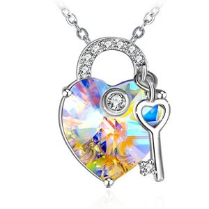ZHULERY Crystal Heart Necklaces 925 Sterling Silver Key to Your Heart Pendant Necklace Swarovski Elements Fashion Women…