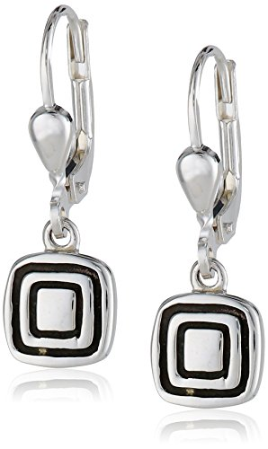 Zina Sterling Silver Etched Square Earrings